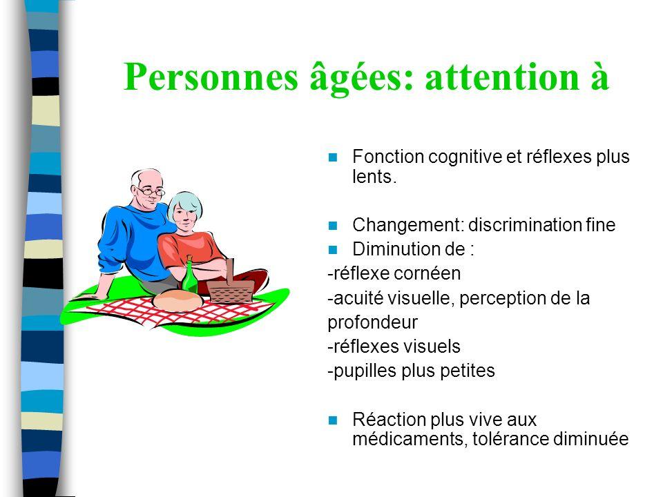 Personnes âgées: attention à Fonction cognitive et réflexes plus lents. Changement: discrimination fine Diminution de : -réflexe cornéen -acuité visue