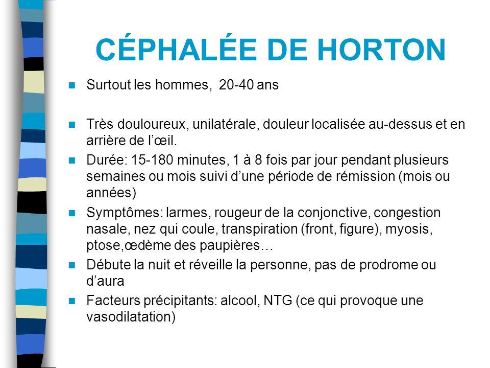 CÉPHALÉE DE HORTON Surtout les hommes, 20-40 ans Très douloureux, unilatérale, douleur localisée au-dessus et en arrière de lœil. Durée: 15-180 minute