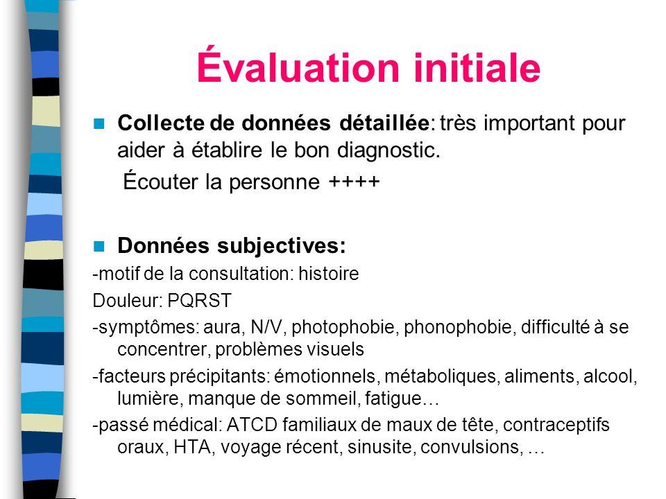 Évaluation initiale Collecte de données détaillée: très important pour aider à établire le bon diagnostic. Écouter la personne ++++ Données subjective