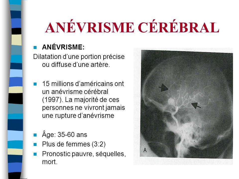 ANÉVRISME CÉRÉBRAL ANÉVRISME: Dilatation dune portion précise ou diffuse dune artère. 15 millions daméricains ont un anévrisme cérébral (1997). La maj
