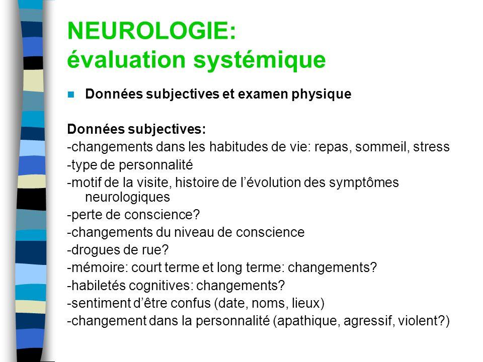 NEUROLOGIE: évaluation systémique Données subjectives et examen physique Données subjectives: -changements dans les habitudes de vie: repas, sommeil,