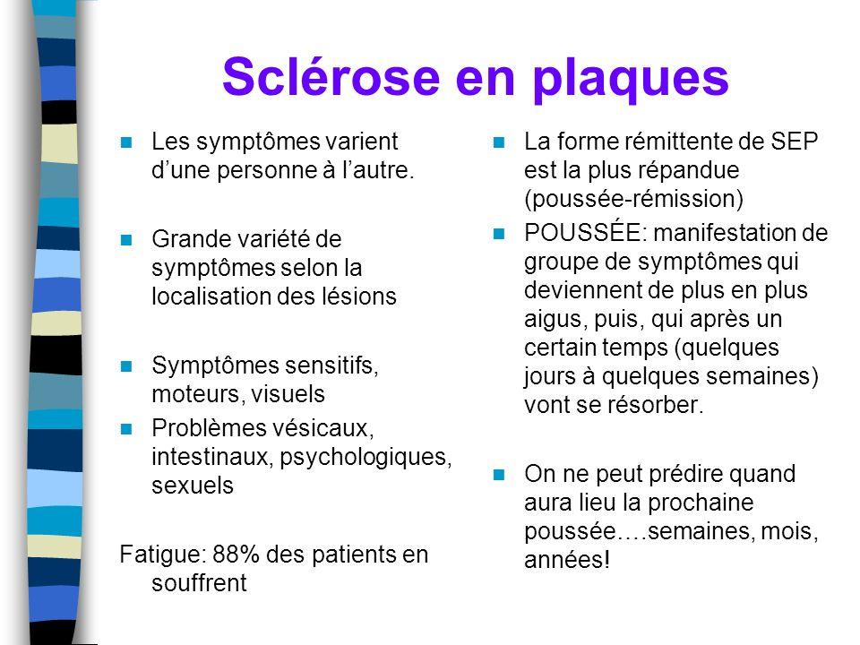 Sclérose en plaques Les symptômes varient dune personne à lautre. Grande variété de symptômes selon la localisation des lésions Symptômes sensitifs, m