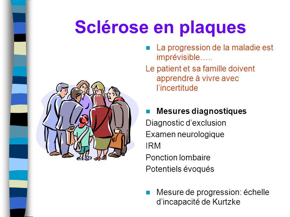 Sclérose en plaques La progression de la maladie est imprévisible….. Le patient et sa famille doivent apprendre à vivre avec lincertitude Mesures diag