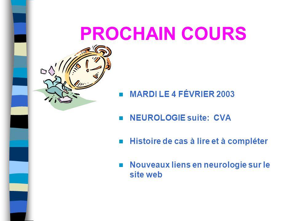 PROCHAIN COURS MARDI LE 4 FÉVRIER 2003 NEUROLOGIE suite: CVA Histoire de cas à lire et à compléter Nouveaux liens en neurologie sur le site web