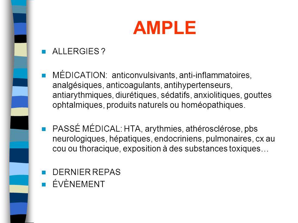 AMPLE ALLERGIES ? MÉDICATION: anticonvulsivants, anti-inflammatoires, analgésiques, anticoagulants, antihypertenseurs, antiarythmiques, diurétiques, s
