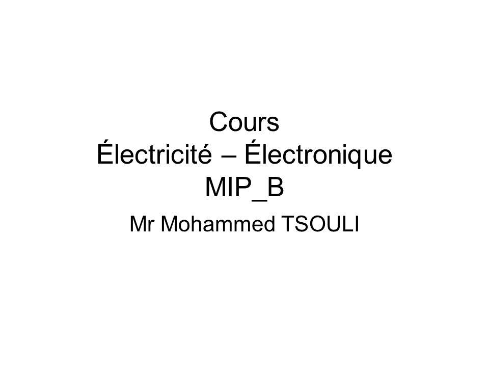 Cours Électricité – Électronique MIP_B Mr Mohammed TSOULI