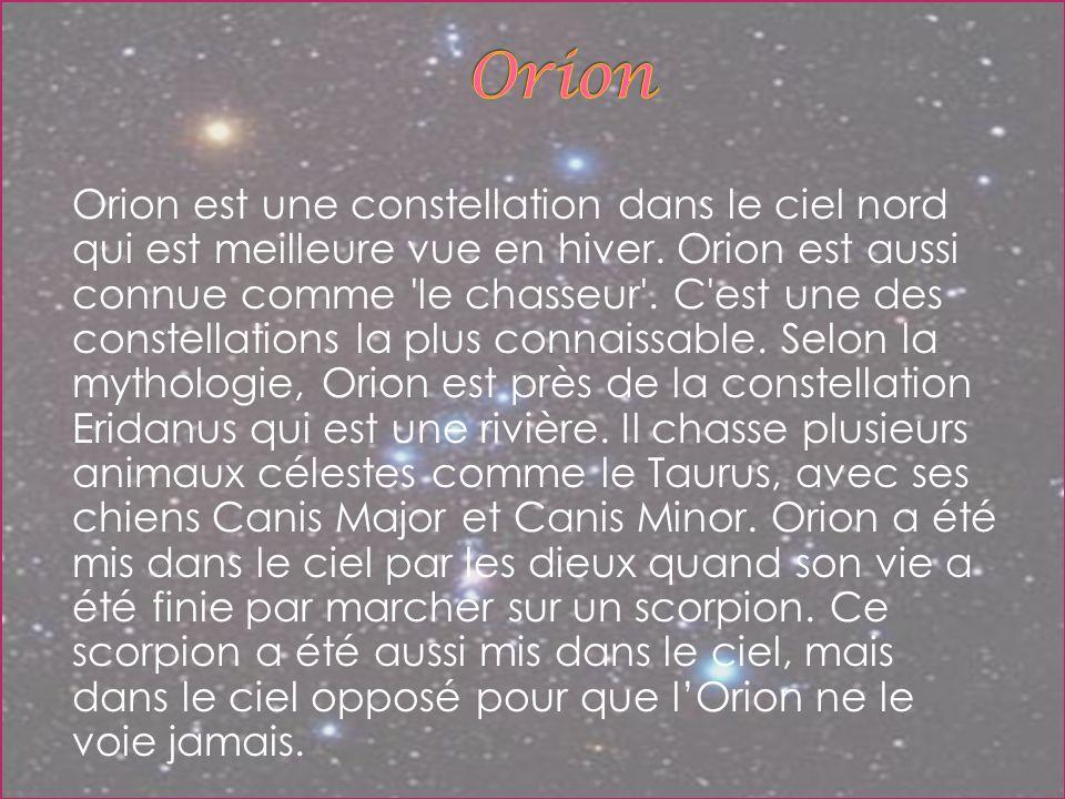 Orion est une constellation dans le ciel nord qui est meilleure vue en hiver. Orion est aussi connue comme 'le chasseur'. C'est une des constellations