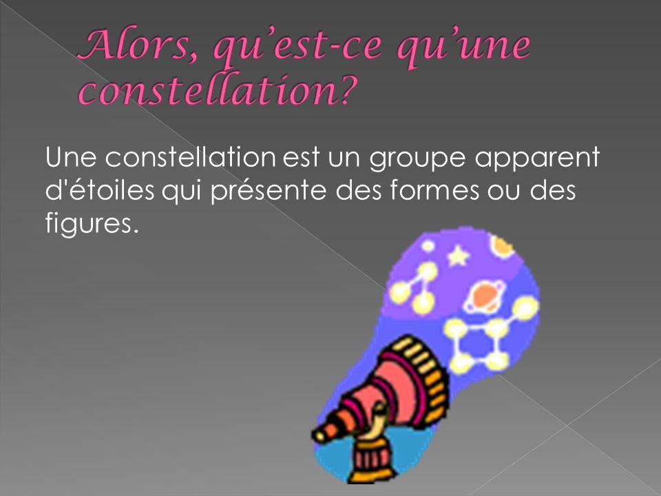 Une constellation est un groupe apparent d'étoiles qui présente des formes ou des figures.