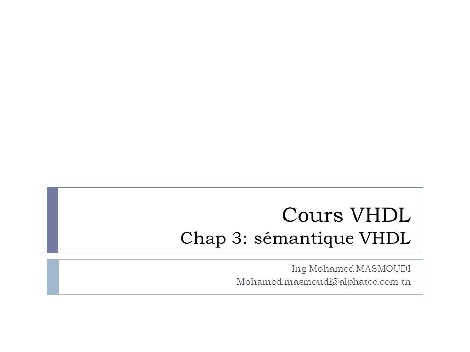Cours VHDL Chap 3: sémantique VHDL Ing Mohamed MASMOUDI Mohamed.masmoudi@alphatec.com.tn