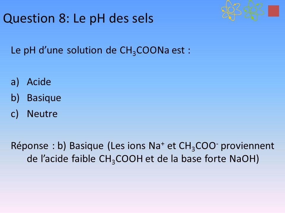Question 8: Le pH des sels Le pH dune solution de CH 3 COONa est : a)Acide b)Basique c)Neutre Réponse : b) Basique (Les ions Na + et CH 3 COO - provie