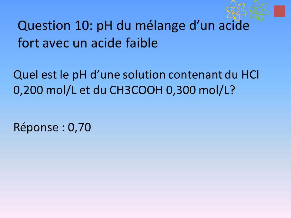Question 10: pH du mélange dun acide fort avec un acide faible Quel est le pH dune solution contenant du HCl 0,200 mol/L et du CH3COOH 0,300 mol/L.
