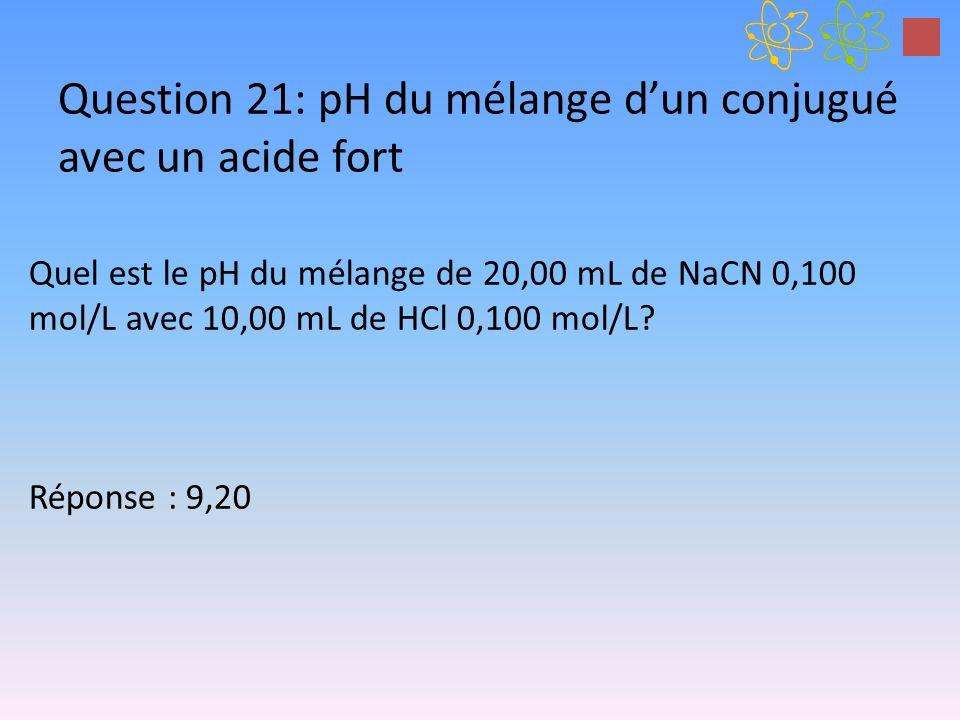 Question 21: pH du mélange dun conjugué avec un acide fort Quel est le pH du mélange de 20,00 mL de NaCN 0,100 mol/L avec 10,00 mL de HCl 0,100 mol/L?