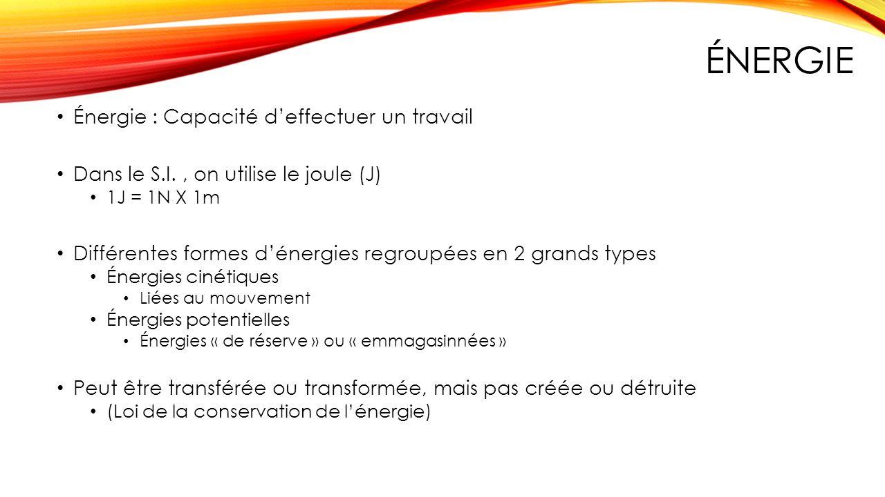 ÉNERGIE Énergie : Capacité deffectuer un travail Dans le S.I., on utilise le joule (J) 1J = 1N X 1m Différentes formes dénergies regroupées en 2 grand