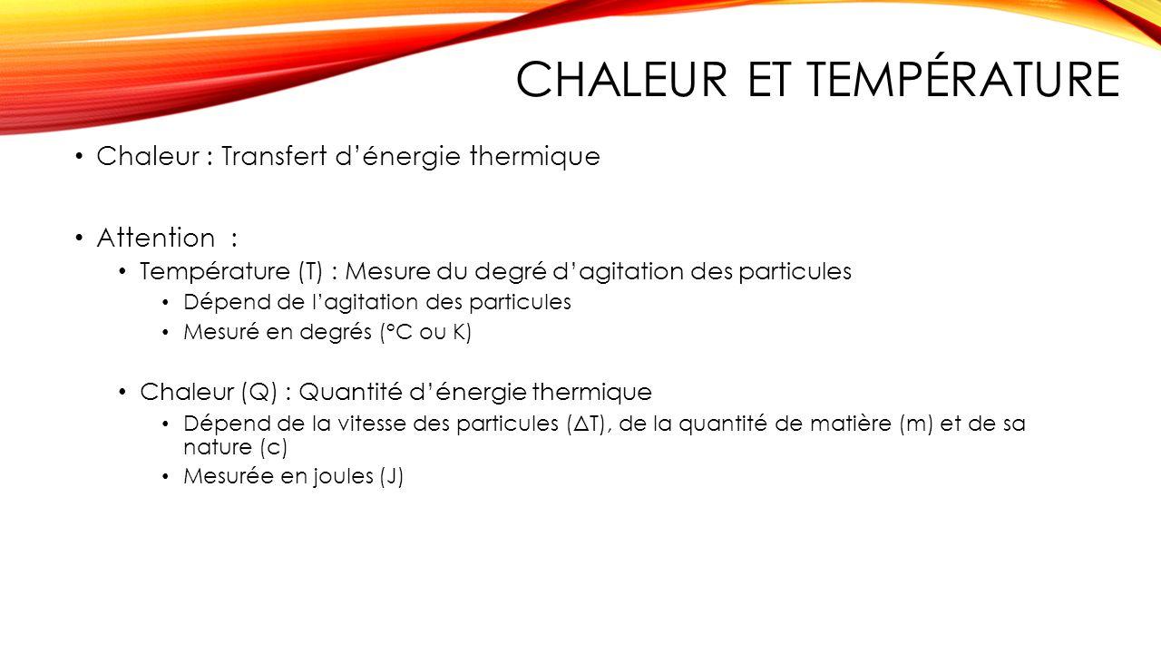 CHALEUR ET TEMPÉRATURE Chaleur : Transfert dénergie thermique Attention : Température (T) : Mesure du degré dagitation des particules Dépend de lagita