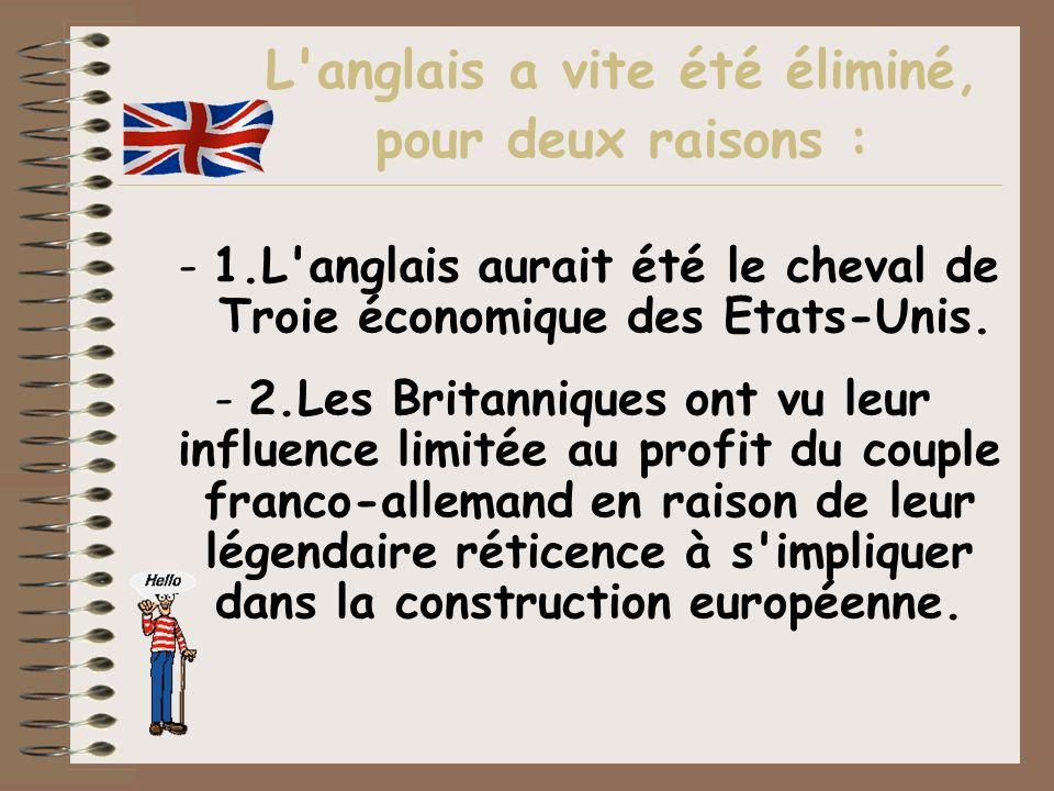 L'anglais a vite été éliminé, pour deux raisons : -1.L'anglais aurait été le cheval de Troie économique des Etats-Unis. -2.Les Britanniques ont vu leu
