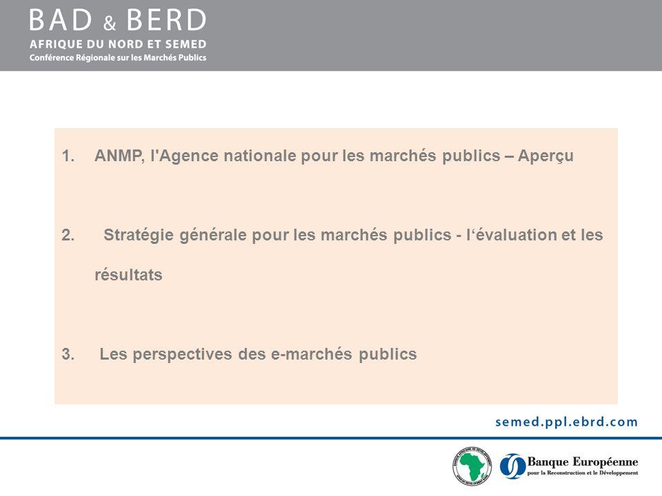 1.ANMP, l'Agence nationale pour les marchés publics – Aperçu 2. Stratégie générale pour les marchés publics - lévaluation et les résultats 3. Les pers