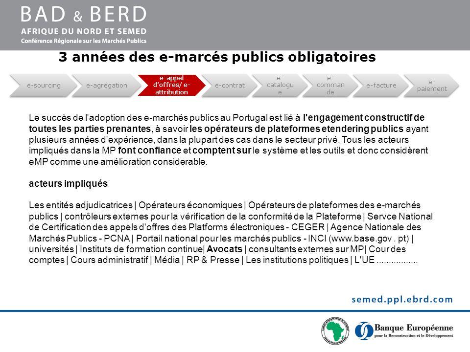 Le succès de l'adoption des e-marchés publics au Portugal est lié à l'engagement constructif de toutes les parties prenantes, à savoir les opérateurs