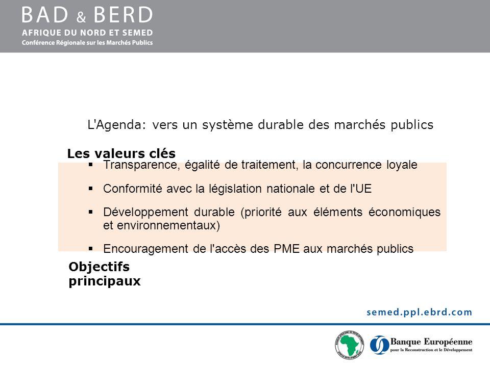 L'Agenda: vers un système durable des marchés publics Transparence, égalité de traitement, la concurrence loyale Conformité avec la législation nation