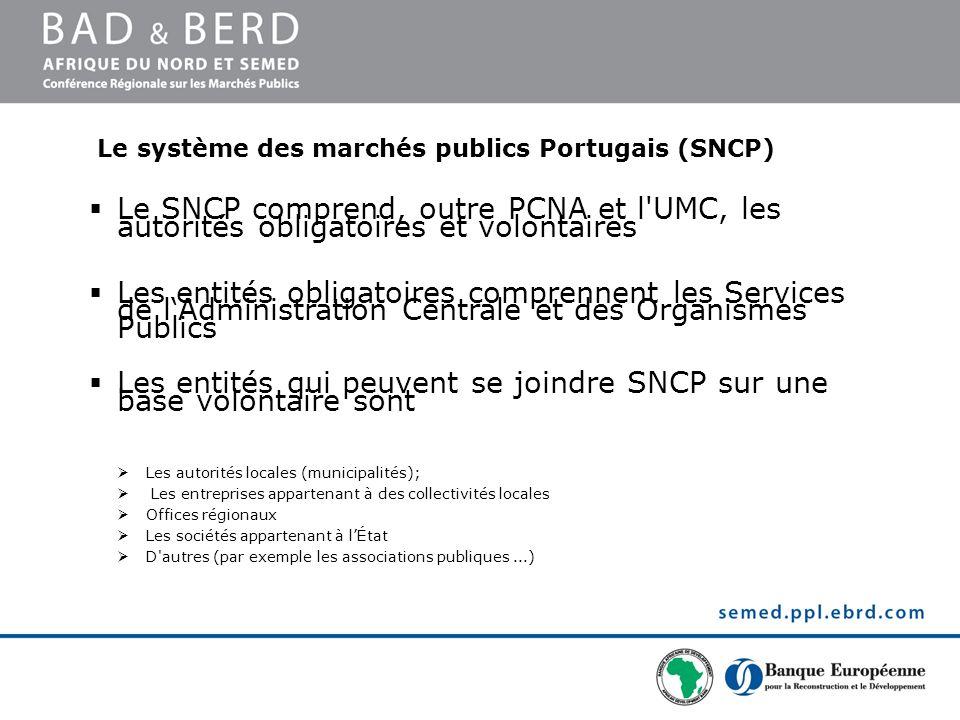 Le système des marchés publics Portugais (SNCP) Le SNCP comprend, outre PCNA et l'UMC, les autorités obligatoires et volontaires Les entités obligatoi