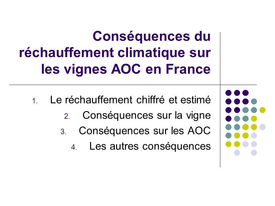 Conséquences du réchauffement climatique sur les vignes AOC en France 1. Le réchauffement chiffré et estimé 2. Conséquences sur la vigne 3. Conséquenc