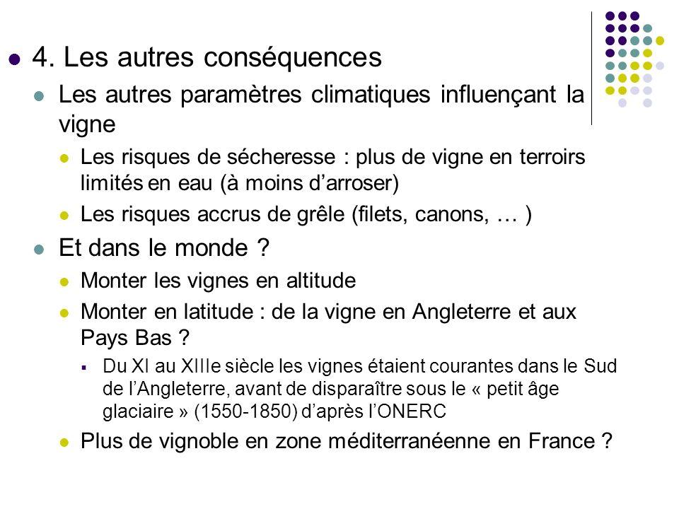 4. Les autres conséquences Les autres paramètres climatiques influençant la vigne Les risques de sécheresse : plus de vigne en terroirs limités en eau
