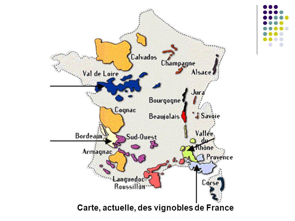 Carte, actuelle, des vignobles de France