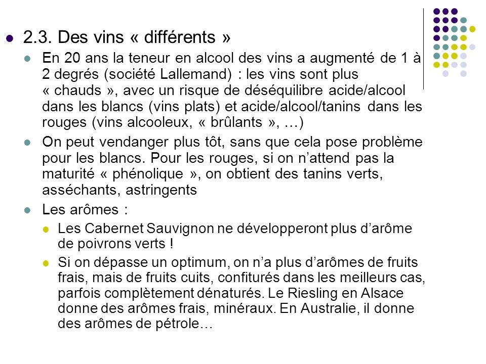 2.3. Des vins « différents » En 20 ans la teneur en alcool des vins a augmenté de 1 à 2 degrés (société Lallemand) : les vins sont plus « chauds », av