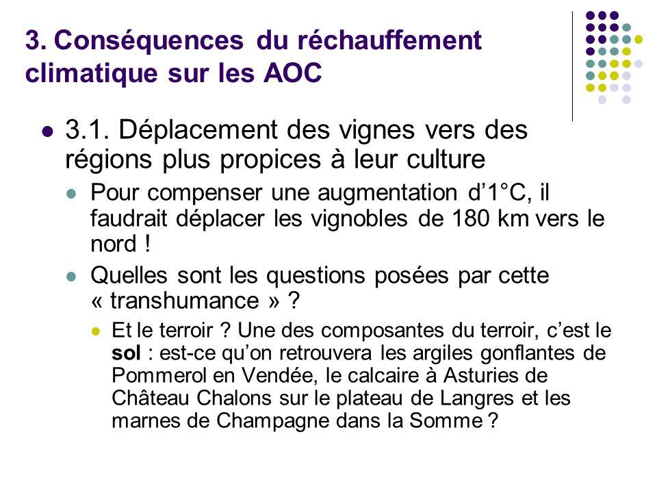 3. Conséquences du réchauffement climatique sur les AOC 3.1. Déplacement des vignes vers des régions plus propices à leur culture Pour compenser une a
