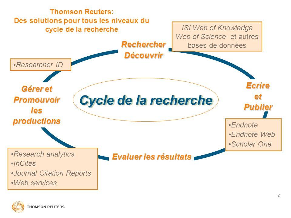 2 Quality Rechercher Découvrir Gérer et Promouvoir les productions EcrireetPublier Evaluer les résultats Cycle de la recherche ISI Web of Knowledge We