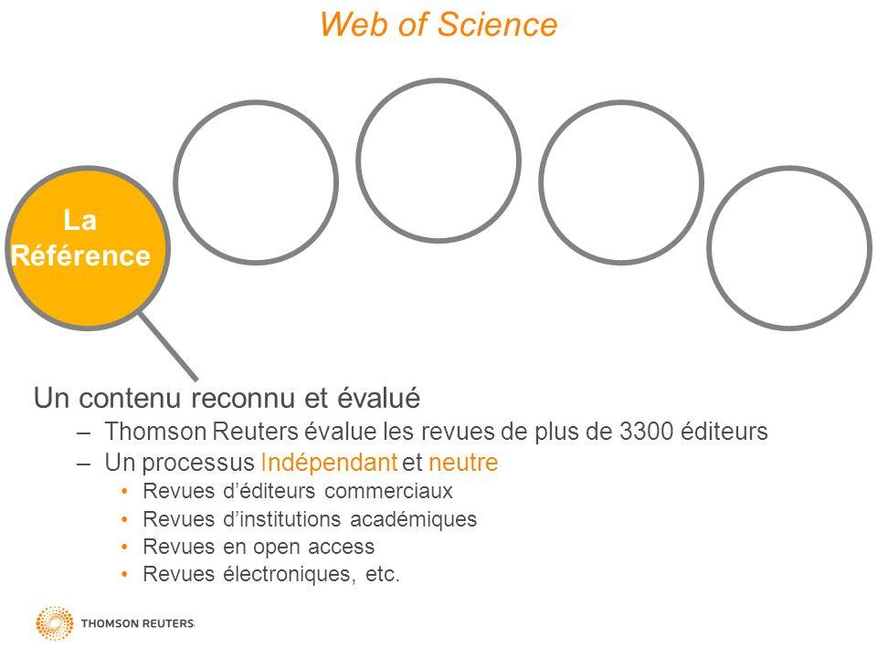 La Référence Diversity Depth & Consistency Quality Data Discovery Tools Web of Science Un contenu reconnu et évalué –Thomson Reuters évalue les revues