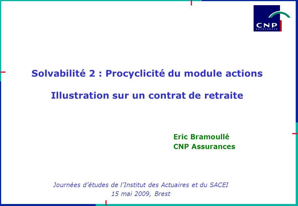 Solvabilité 2 : Procyclicité du module actions Illustration sur un contrat de retraite Journées détudes de lInstitut des Actuaires et du SACEI 15 mai
