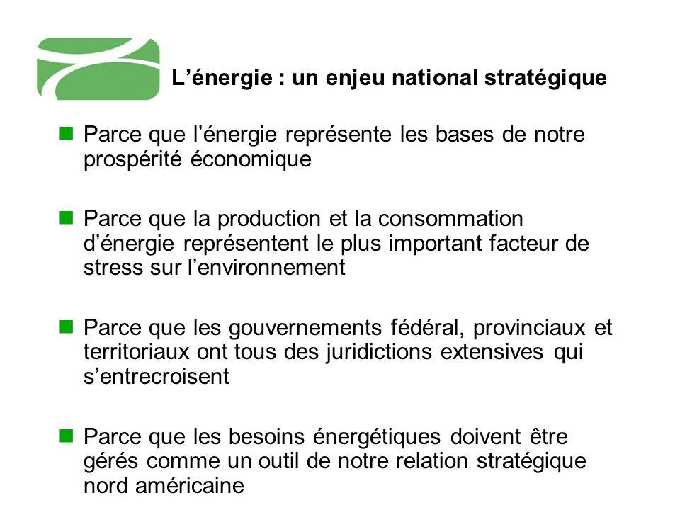 Lénergie : un enjeu national stratégique Parce que lénergie représente les bases de notre prospérité économique Parce que la production et la consomma