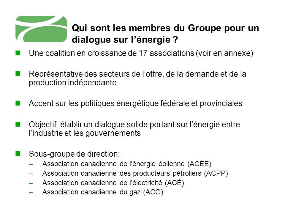Qui sont les membres du Groupe pour un dialogue sur lénergie ? Une coalition en croissance de 17 associations (voir en annexe) Représentative des sect