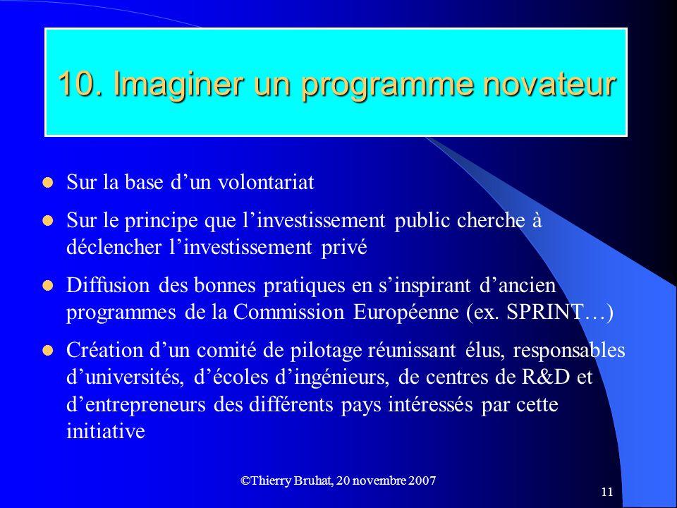 ©Thierry Bruhat, 20 novembre 2007 11 10. Imaginer un programme novateur Sur la base dun volontariat Sur le principe que linvestissement public cherche