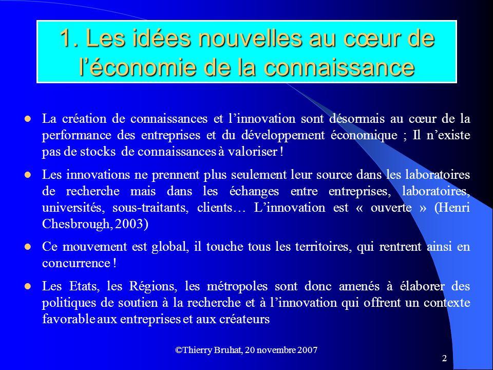 ©Thierry Bruhat, 20 novembre 2007 2 1. Les idées nouvelles au cœur de léconomie de la connaissance La création de connaissances et linnovation sont dé