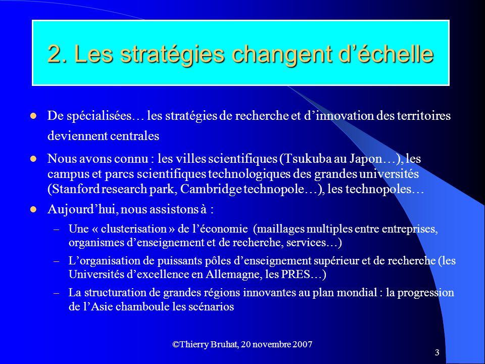 ©Thierry Bruhat, 20 novembre 2007 3 2. Les stratégies changent déchelle De spécialisées… les stratégies de recherche et dinnovation des territoires de