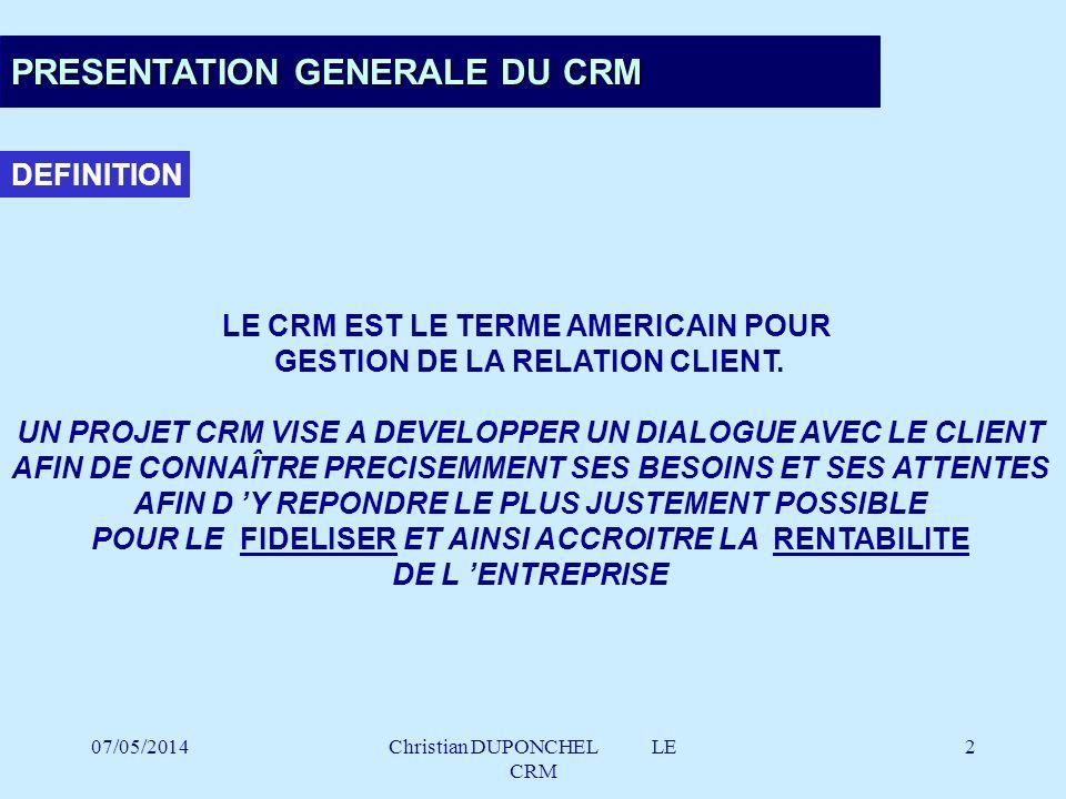 07/05/2014Christian DUPONCHEL LE CRM 53 LE CHOIX DU MODE D ACQUISITION ACQUISITION .