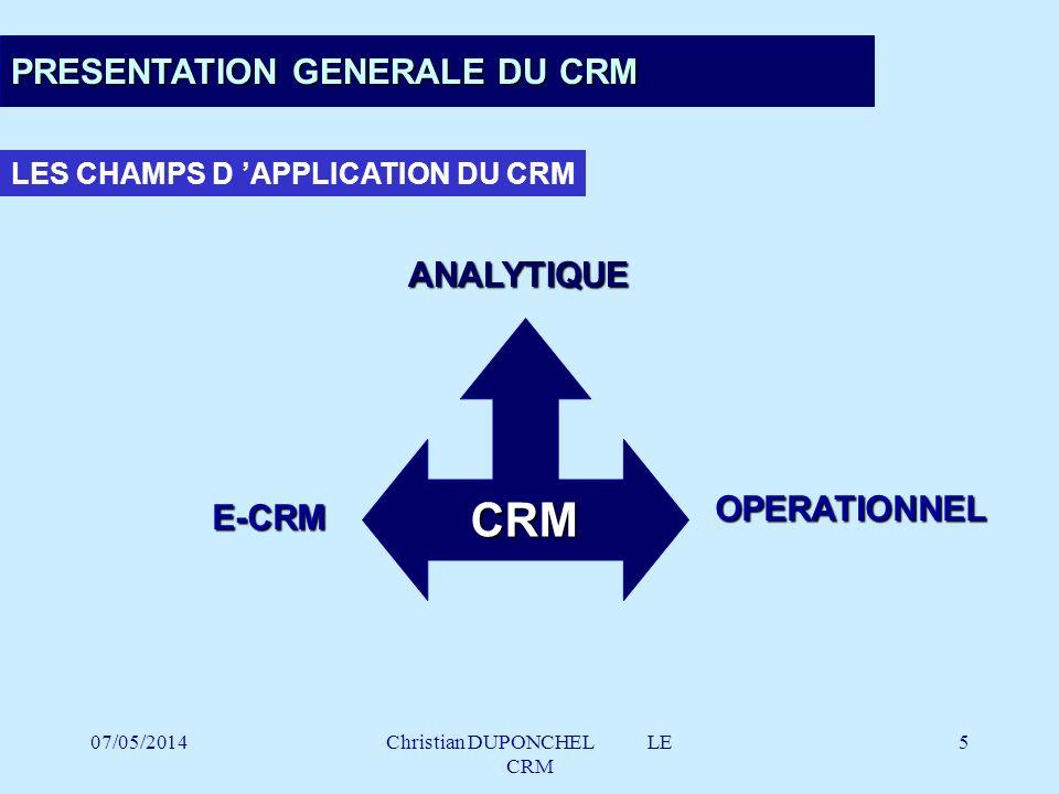 07/05/2014Christian DUPONCHEL LE CRM 26 LA TYPOLOGIE DE L OFFRE CRM : LE MARCHE Progression 2000/1999 des ventes de licences CRM : 116.4 % CA licences CRM en 2000 : 141.08 millions d euros ( 925.4 mFr.