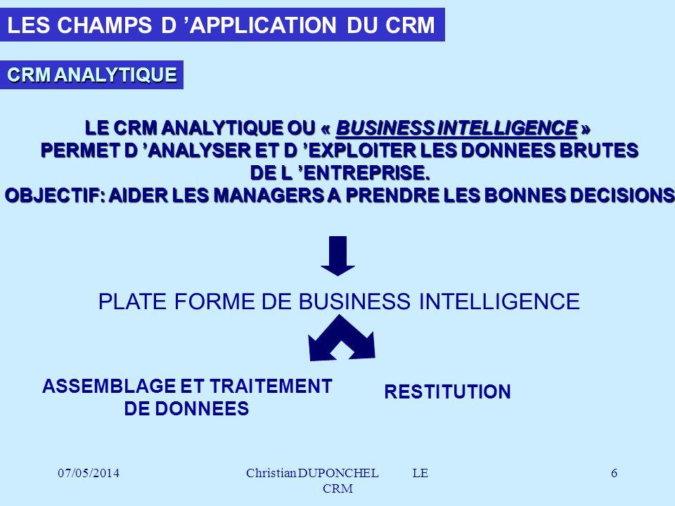 07/05/2014Christian DUPONCHEL LE CRM 7 CRM ANALYTIQUE ASSEMBLAGE & TRAITEMENT DES DONNEES : LES OUTILS ERP STOCK ERP SCM ERP FINANCE ERP...