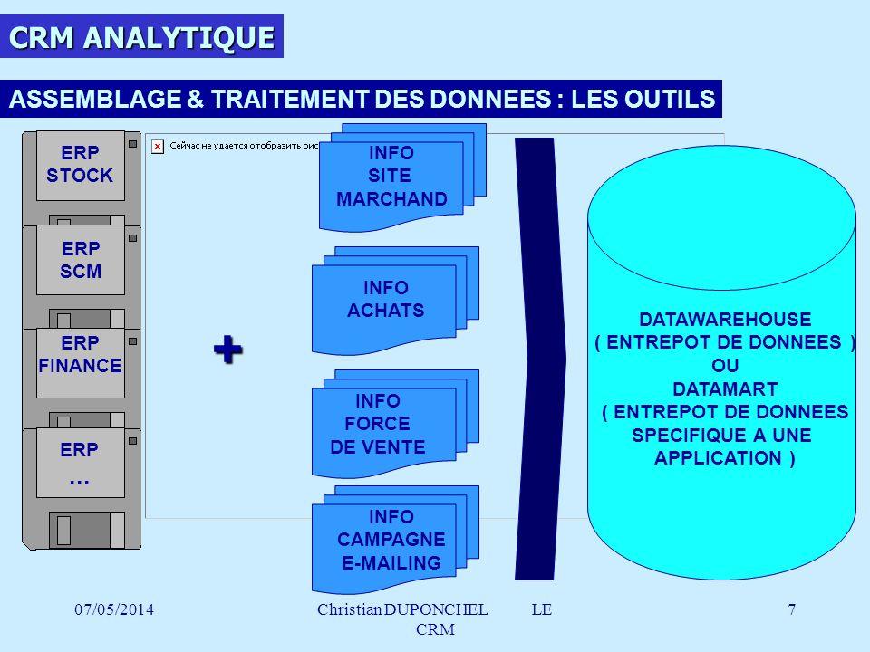 07/05/2014Christian DUPONCHEL LE CRM 8 ASSEMBLAGE & TRAITEMENT DES DONNEES : LES OUTILS LE DATAWAREHOUSE / DATAMART DATAWAREHOUSE DATAMART ETL APPLICATIONS ENTREPRISE ( CRM, ERP … ) EXTRACTION DES DONNEES ETL : EXTRACTION TRANSFERT LOADING SE CONNECTE EXTRAIT LES DONNEES STOCKESTOCKE CUBE OLAP ANALYSE DES DONNEES CUBE OLAP : ONLINE ANALYTICAL PROCESSING REQUETE ANALYSE RESTITUTION 1 2 3 1 23