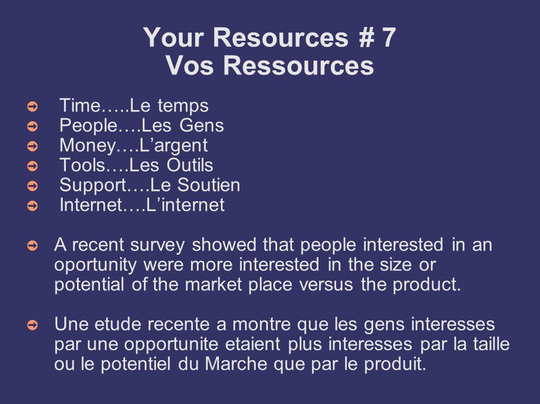 Your Resources # 7 Vos Ressources Time…..Le temps People….Les Gens Money….Largent Tools….Les Outils Support….Le Soutien Internet….Linternet A recent s