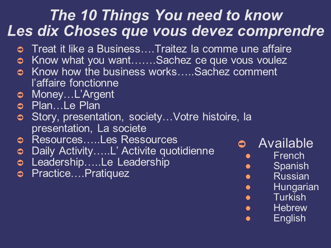 The 10 Things You need to know Les dix Choses que vous devez comprendre Treat it like a Business….Traitez la comme une affaire Know what you want…….Sa