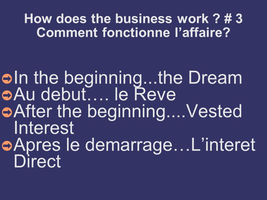 How does the business work ? # 3 Comment fonctionne laffaire? In the beginning...the Dream Au debut…. le Reve After the beginning....Vested Interest A