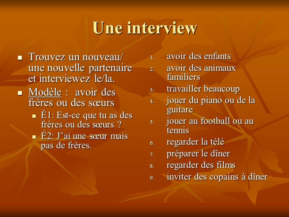 Une interview Trouvez un nouveau/ une nouvelle partenaire et interviewez le/la. Trouvez un nouveau/ une nouvelle partenaire et interviewez le/la. Modè