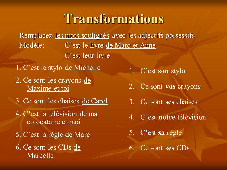 Transformations Remplacez les mots soulignés avec les adjectifs possessifs Modèle:Cest le livre de Marc et Anne Cest leur livre 1. Cest le stylo de Mi