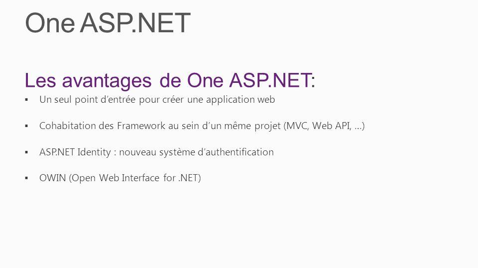 Les avantages de One ASP.NET: Un seul point dentrée pour créer une application web Cohabitation des Framework au sein dun même projet (MVC, Web API, …) ASP.NET Identity : nouveau système dauthentification OWIN (Open Web Interface for.NET)