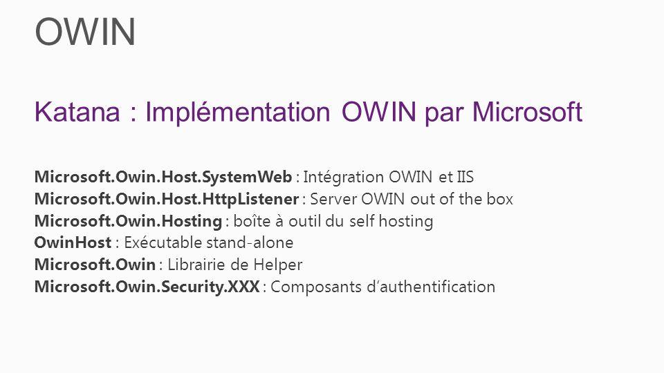 OWIN Katana : Implémentation OWIN par Microsoft Microsoft.Owin.Host.SystemWeb : Intégration OWIN et IIS Microsoft.Owin.Host.HttpListener : Server OWIN out of the box Microsoft.Owin.Hosting : boîte à outil du self hosting OwinHost : Exécutable stand-alone Microsoft.Owin : Librairie de Helper Microsoft.Owin.Security.XXX : Composants dauthentification