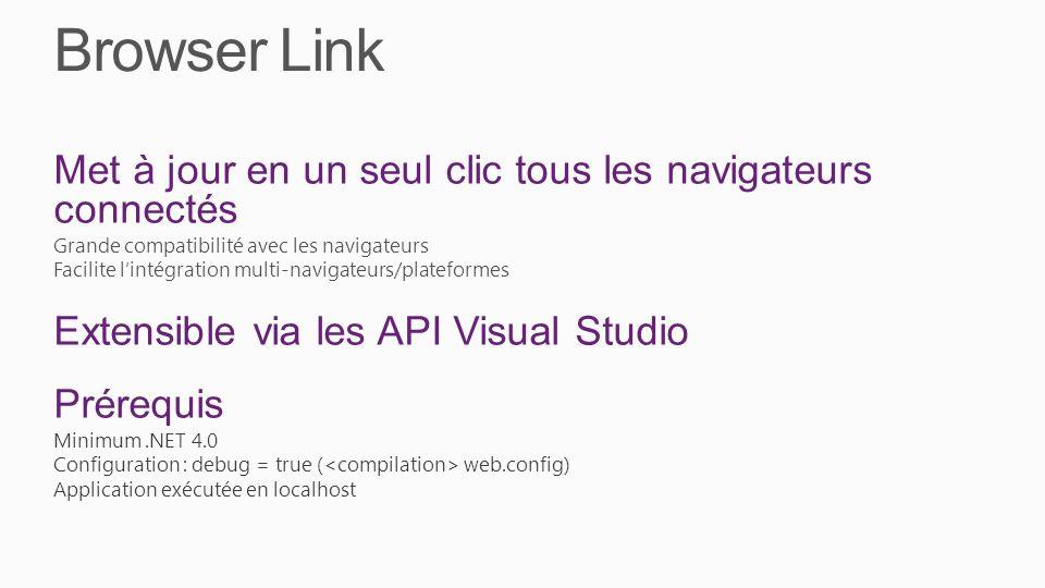 Browser Link Met à jour en un seul clic tous les navigateurs connectés Grande compatibilité avec les navigateurs Facilite lintégration multi-navigateurs/plateformes Extensible via les API Visual Studio Prérequis Minimum.NET 4.0 Configuration : debug = true ( web.config) Application exécutée en localhost