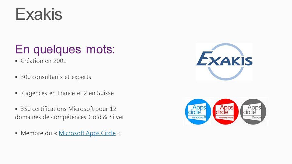 Exakis En quelques mots: Création en 2001 300 consultants et experts 7 agences en France et 2 en Suisse 350 certifications Microsoft pour 12 domaines de compétences Gold & Silver Membre du « Microsoft Apps Circle »Microsoft Apps Circle