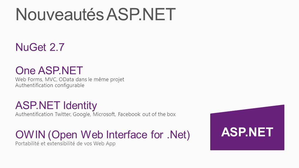 Nouveautés ASP.NET NuGet 2.7 One ASP.NET Web Forms, MVC, OData dans le même projet Authentification configurable ASP.NET Identity Authentification Twitter, Google, Microsoft, Facebook out of the box OWIN (Open Web Interface for.Net) Portabilité et extensibilité de vos Web App ASP.NET